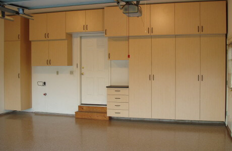 Garage floor coatings and garage cabinetry