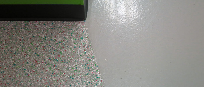 Decorative chip and solid color epoxy coatings at sweetFrog of Carlisle Pennsylvania.
