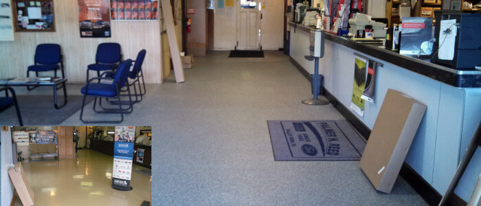 Epoxy coatings in Ford dealership showroom in Valley View, PA.