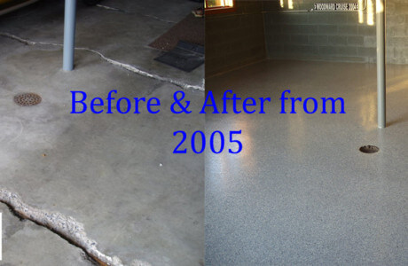 Before and after pictures of a garage coatings that fixed many issues in the Lancaster home.