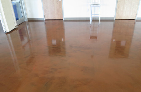 Metallic epoxy in lobby of Mechanicsburg Trails and Trees environmental center.