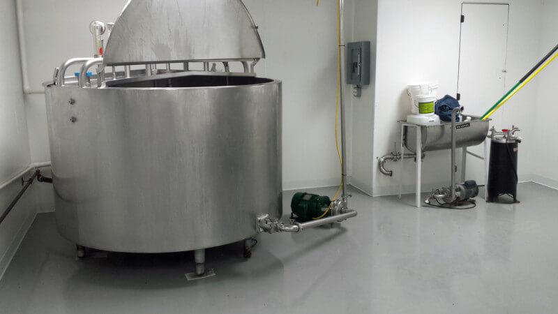 Novolac epoxy provides protection for cheese production floor.