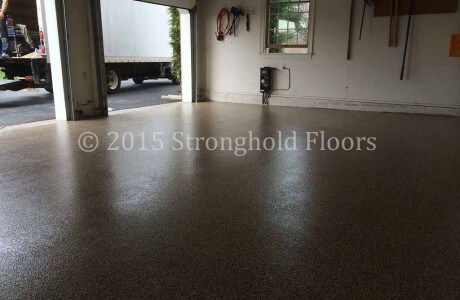 Garage floor coatings in Baltimore, Maryland by Stronghold Floors.