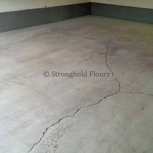 Hummelstown garage floor after initial grinding and crack chasing.