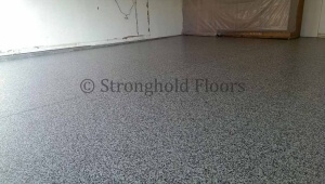 Our Franklin chip blend in this epoxy floor coating painted in a Lititz, PA garage.