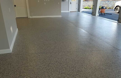 Lancaster garage floor painted by Stronghold Floors with epoxy coatings.